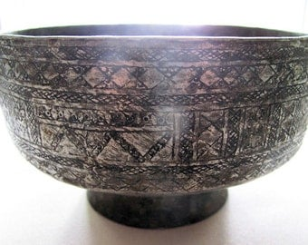 Washing Bowl,Vintage Hand Forged, Tinned, with Hand Etched Design from Afghanistan