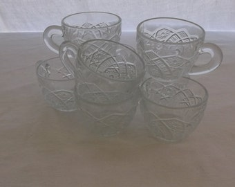 Vintage Punch Cups, Clear Pressed Glass Punch Cups, 8 Pieces