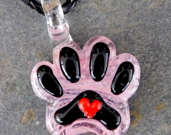 Hand Sculpted Glass Pet Cremation Paw Pendant