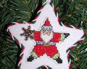 Star Santa Cross Stitch Christmas Ornament