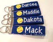 Softball Keychain / Sports key fob /  Bag tag / Coach Gift