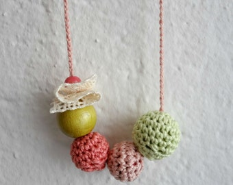Little Miss Jewelry Necklace #4 bead and flower necklace, crocheted flowers and beads, wooden beads, wooden necklace, crochet necklace