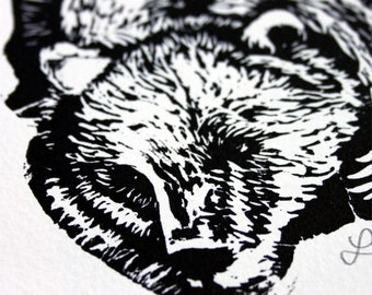 """The Bear, 1 original wood print, """"animals coming out of the wood"""" collection"""