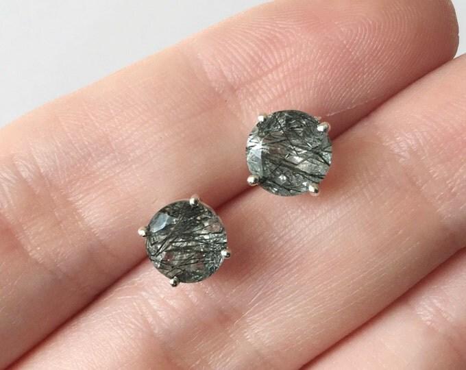 Faceted Tourmalinated Quartz Stud Earrings in sterling silver - sterling silver earrings - rutilated quartz stud earrings - gemstone jewelry
