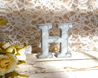 Galvanized Metal Letter wall art decor vintage style You Pick Alphabet Initial Monogram Small  tin