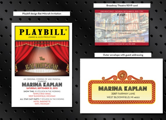 Items Similar To Custom PLAYBILL Invitation & RSVP Card