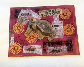 Tortoise Mixed Media Artwork, Vintage Ephemera Collage, Turtle Painting, 11 x 14 inches, Inspirational Artwork