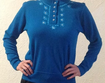 Vintage Blue Embroidered Sparkly Button Sweater
