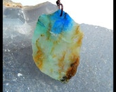 Nugget Gemstone Chrysocolla Pendant Bead,Semiprecious Stone Fashion Pendant,33x22x3mm,4.5g(a0617)
