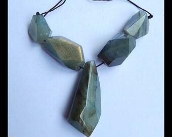 5 PCS Faceted Labradorite Gemstone Loose Bead,1 Strand,31.7g