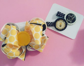 Bumble bee bow and clipee set