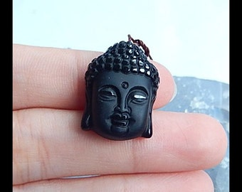 Carved Obsidian Buddha Head Gemstone Pendant Bead,22x16x8mm,4.1g