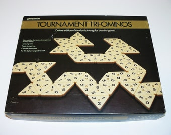 Deluxe Tournament Tri-Ominos Game Solid Tiles w/ Spinners – Rare – Pressman 1986