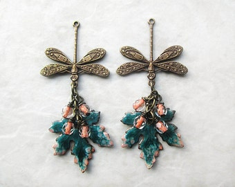 Leaf Earrings, Dragonfly Earrings, Brass Earrings, Teal Earrings, Brass Jewelry