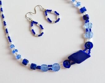 Ultramarine glass beaded necklace earring set