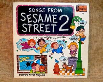 """SESAME STREET - Songs Grom Sesame Street 2 - 1972 Vintage Vinyl Record Gatefold Album...w/Giant 22'x 28"""" Colored Poster"""