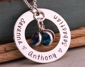 Mommy Necklace / Hand Stamped Jewelry / Personalized Sterling Silver Necklace / Family Circle of Love with birthstones