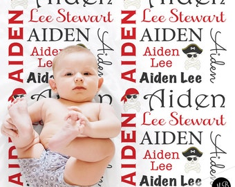 Pirate Baby Name blanket, Personalized Pirate Blanket, boy blanket, photo prop blanket, pirate name blanket, blanket