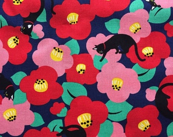 1M Japanese cotton fabric Cat with flower printed one yard dark blue colour