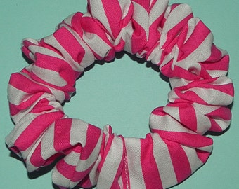 Everyday Hair Scrunchie Bright Pink and White Stripes