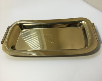 Vintage Brass Tray With Bamboo Handles