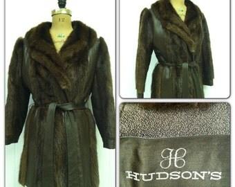 SALE Vintage 1970s Coat Muskrat Fur Coat Jacket Boho Hippy Leather
