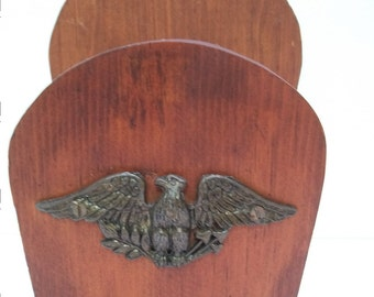 Vintage Wood Napkin Holder, Patriotic Eagle On Front, Wood Block Napkin Holder, Brass Eagle Emblem on Wood To Hold Napkins or Mail