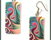 Fractal Art Earrings Polymer Clay 3/4 W x 1 1/2 L image Transfer Digital Art Handcrafted Pinks Blues Dangle