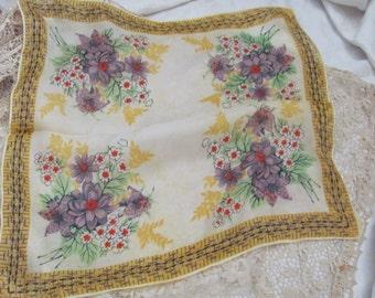 Hankie Beautiful Yellow Floral Vintage Silk Hankie Handkerchief Pocket Scarf Mini Scarf