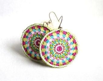 Mandala Style Crochet Round Dangle Fiber Earrings