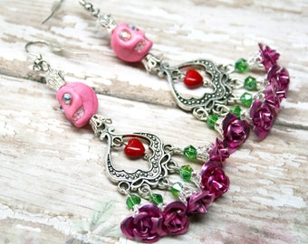 Sugar Skull Earrings Catrina Day of the Dead Pink Roses Quinceanera Jewelry