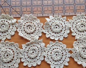 12 Dimensional Crochet Flowers, Crochet Flower Appliques, 2.5 Inch Crocheted Flowers, Lace Flowers, Shabby Flower Embellishments