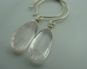 Rose Quartz Briolette 925 Sterling Silver Earrings