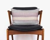 Geometric decorative throw pillows in lumbar 12x18 | Black, grey, purple, pink & beige | Boho pillow case, cushion cover | Modern Home Decor