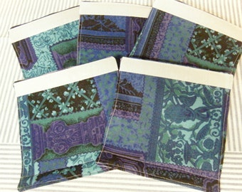 LUGGAGE HANDLE Wraps Luggage Identifier Tags Purple Teal Green Black Quilt Pattern One (1) Each