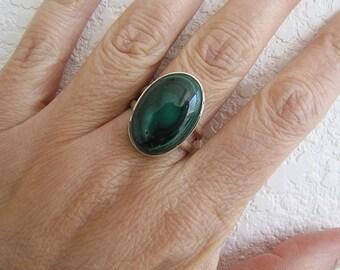 Gorgeous Malachite Swirl pattern Sterling Silver Ring, size 8.25