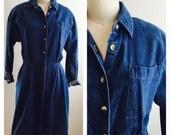 80's 90's Denim Button Up Dress Longsleeve  Short