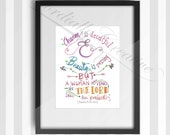 "Proverbs 31 watercolor illustration print 8x10"" featuring the inspirational scripture for women, digitally printed on white linen stock"