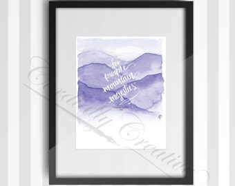 """Purple Mountain Majesties watercolor illustration print 8x10"""" featuring a verse from America the Beautiful, digitally printed on white linen"""