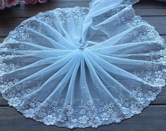 2 Yards Lace Trim Flowers Embroidered Light Blue Tulle Lace 8.66 Inches Wide High Quality