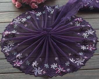 3.16 Yards Lace Trim Floral Embroidered Purple Tulle Lace 8.66 Inches Wide High Quality
