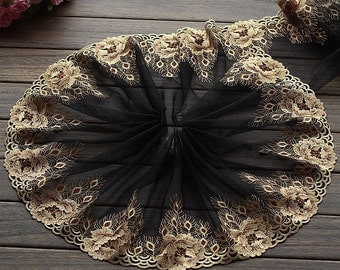 2 Yards Lace Trim Exquisite Gold Flower Embroidered Black Tulle Lace 8.66 Inches Wide High Quality