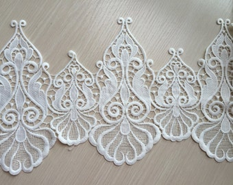 Cream White Lace Trim Gothic Embroidered Lace Trim 8.66 Inches Wide 1 yard