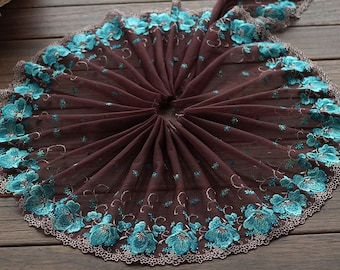 2 Yards Lace Trim Cyan Floral Embroidered Coffee Tulle Lace 8.26 Inches Wide High Quality