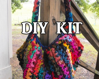 DIY Upcycled Sari Silk Tote Bag Crochet Pattern Kit, Includes Sari Silk Yarn and Hook, Easy Breezy Bright and Hippy Slouchy Hobo