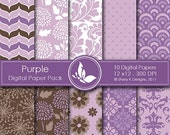 50% off Purple Paper Pack - 10 Printable Digital Scrapbooking papers - 12 x12 - 300 DPI