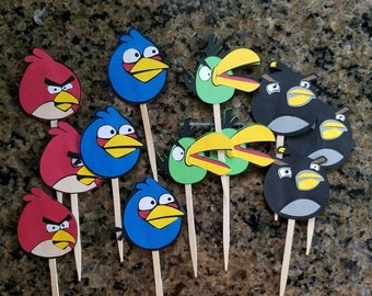 Angry Birds Cupcake Toppers diecut cardstock party decorations set of 12