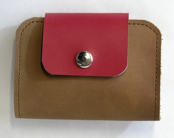 Rosie Upcycled Leather Wallet, Leather Billfold in Brown and Red