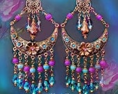 Large Gold Turquoise Hot Pink Floral Gypsy Moon Chandelier Earrings, Colorful Pink & Blue Jewelry, Huge Statement Earrings, Clip-On Option