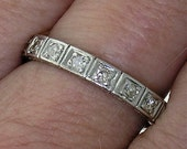 Vintage DIAMOND All-Around WEDDING BAND in Platinum, Circa 1910-15
